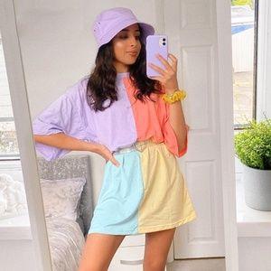 NWT oversized t-shirt patchwork light colors dress